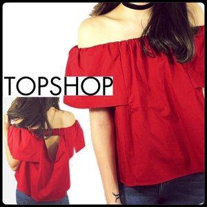 Topshop red off-shoulder top